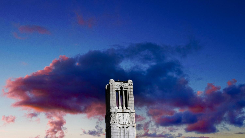 Memorial Belltower at dusk.
