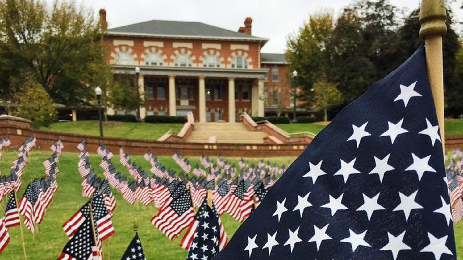 Flags line the Court of North Carolina for Veterans Day.