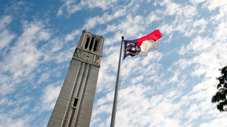 Belltower and North Carolina flag.