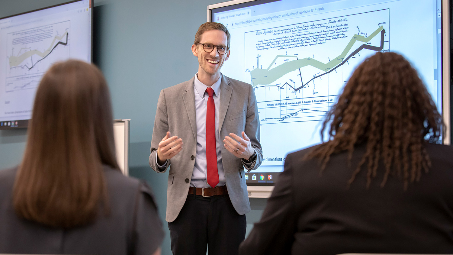Professor Timothy Drake in a classroom.