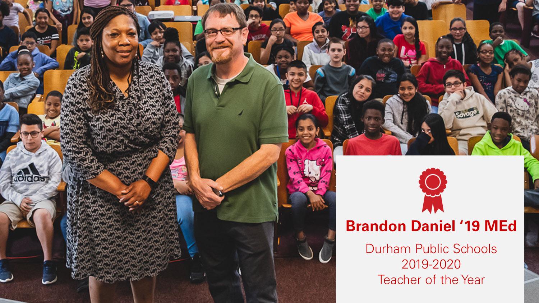 Brandon Daniel in school auditorium