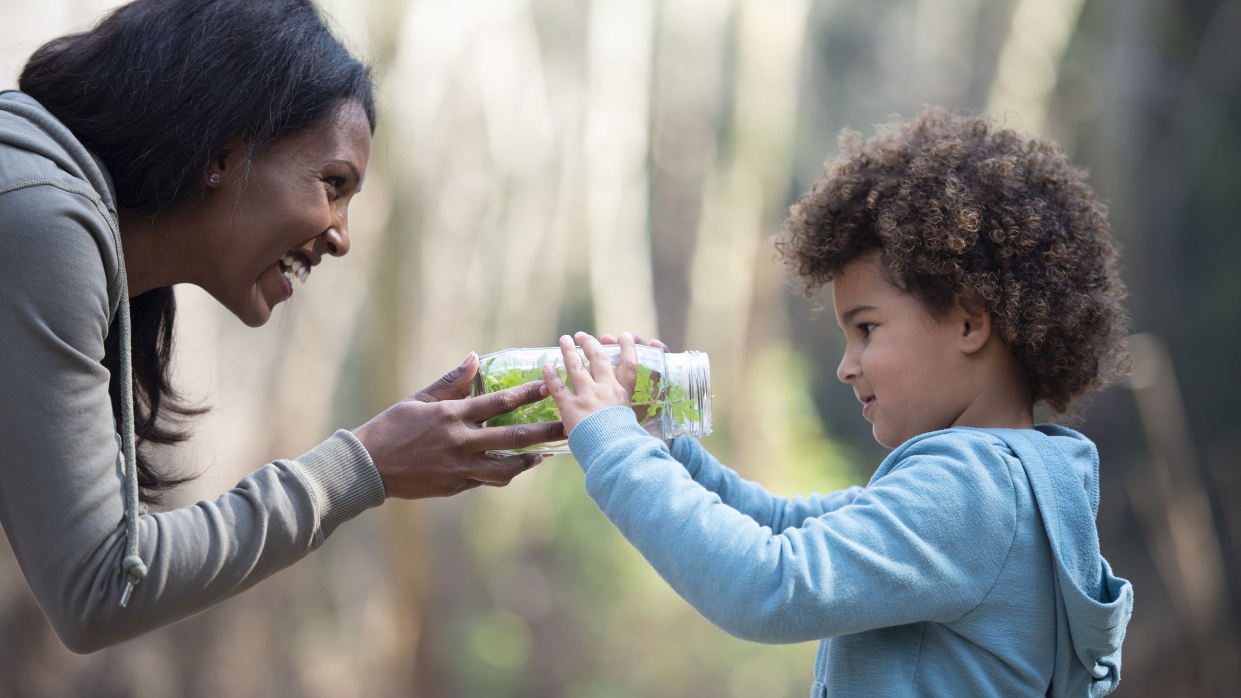 Young mother showing her 5 years old girl what inside of the jar. Mother and daughter studying nature together, holding the jar with plants inside. Teacher showing her little student jar with bugs and explaining to her about what inside. The girl looks excited.
