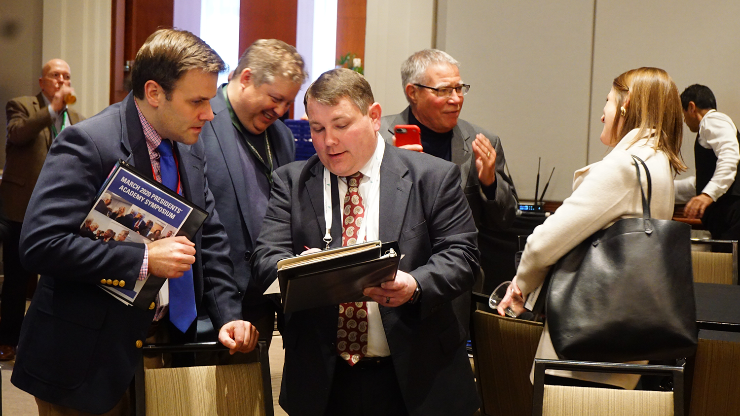 Community college leaders and Belk Center faculty attend the Presidents' Academy Symposium in March 2020