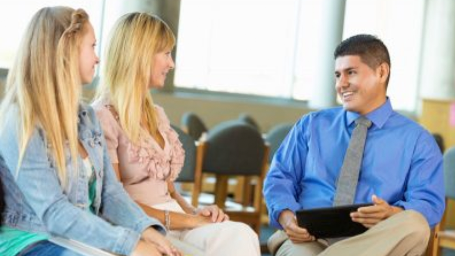 Two students in a counseling session