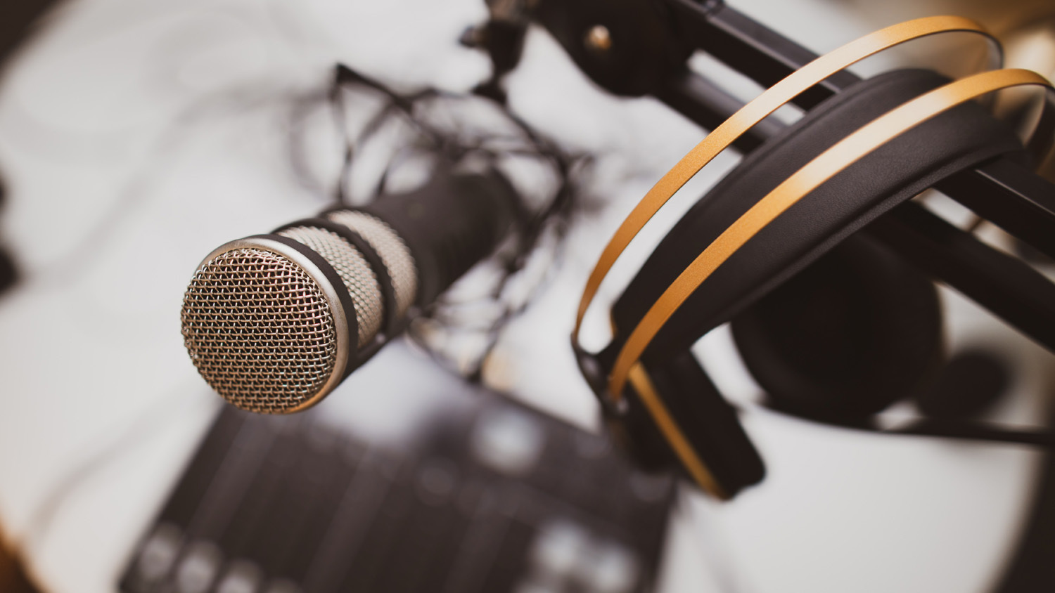 A photo of a microphone from a podcast