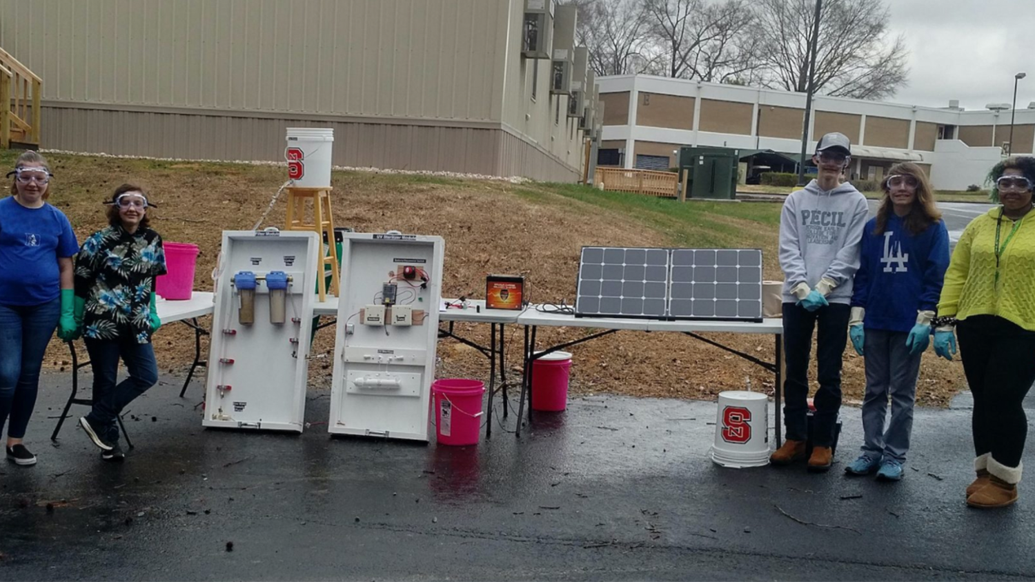 During the showcase, a team of students under the direction of Person Early College for Innovation and Leadership's engineering teacher, David Price, created a UV water treatment system.
