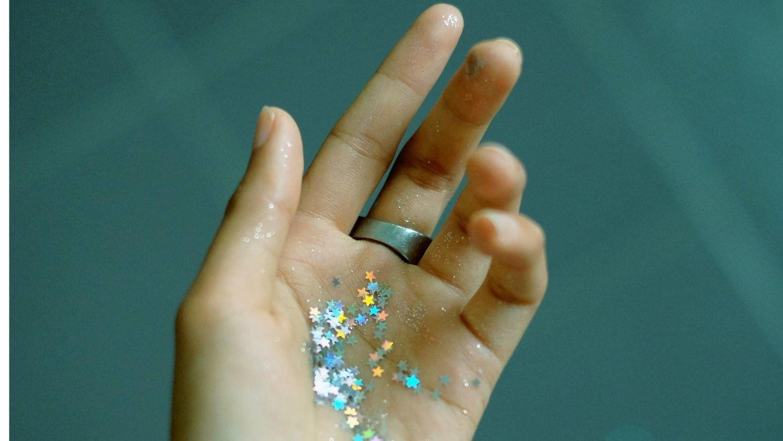 Glitter on hand.