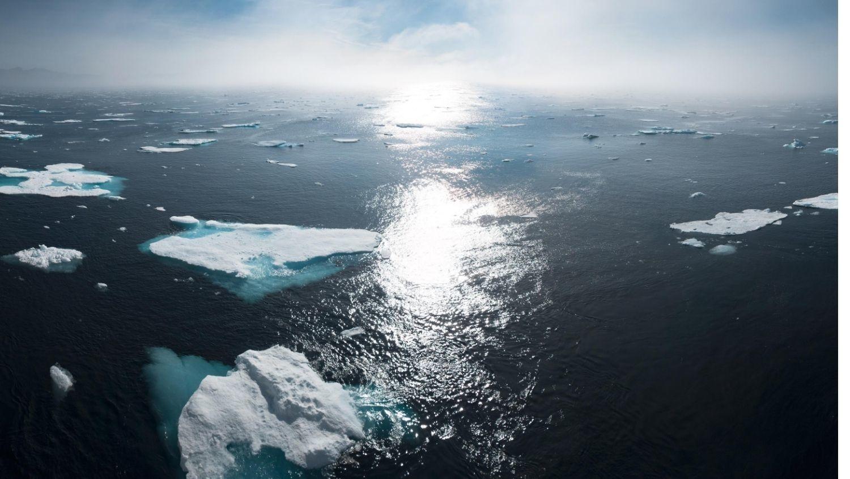 Greenland ocean at sunset.