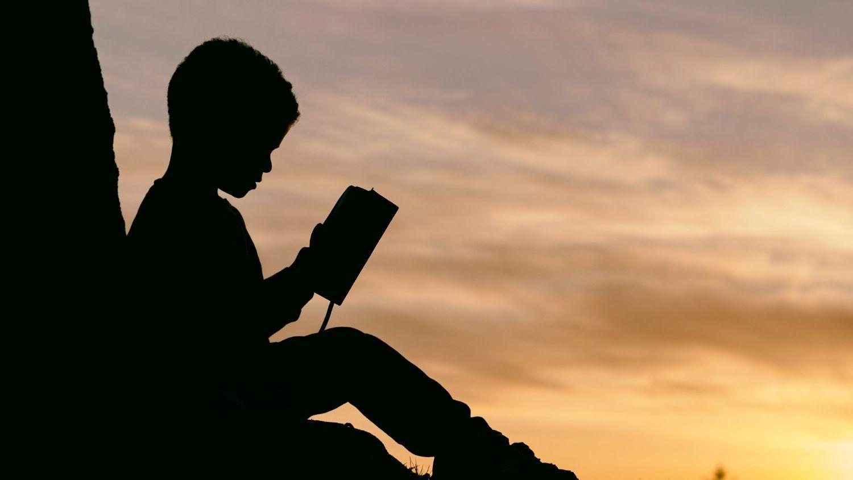Child reading at sunset.
