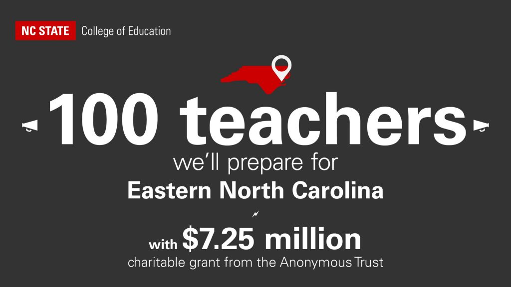 NCState will prepare 100 teachers for Eastern North Carolina with a grant from the Anonymous Trust