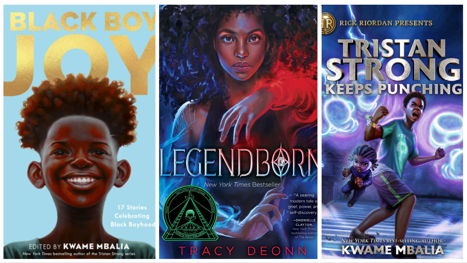 Kwame Mbalia and Tracy Deonn books Black Boy Joy, Legendborn, and Tristan Strong