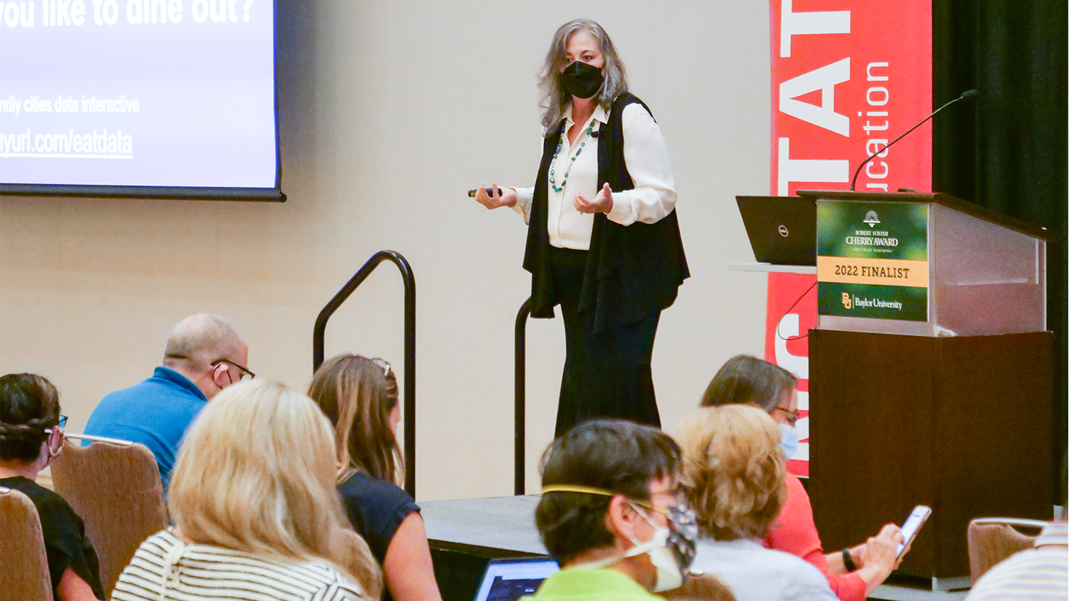 NC State College of Education Professor Hollylynne Lee, Ph.D., delivering her Cherry Award Lecture on Sept. 23, 2021