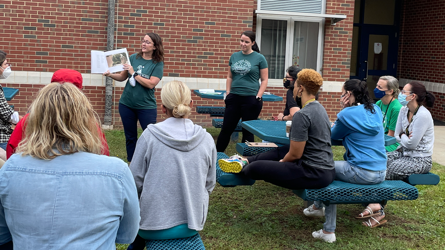 NC State College of Education doctoral students lead a professional development workshop to help teachers bring lessons outdoors