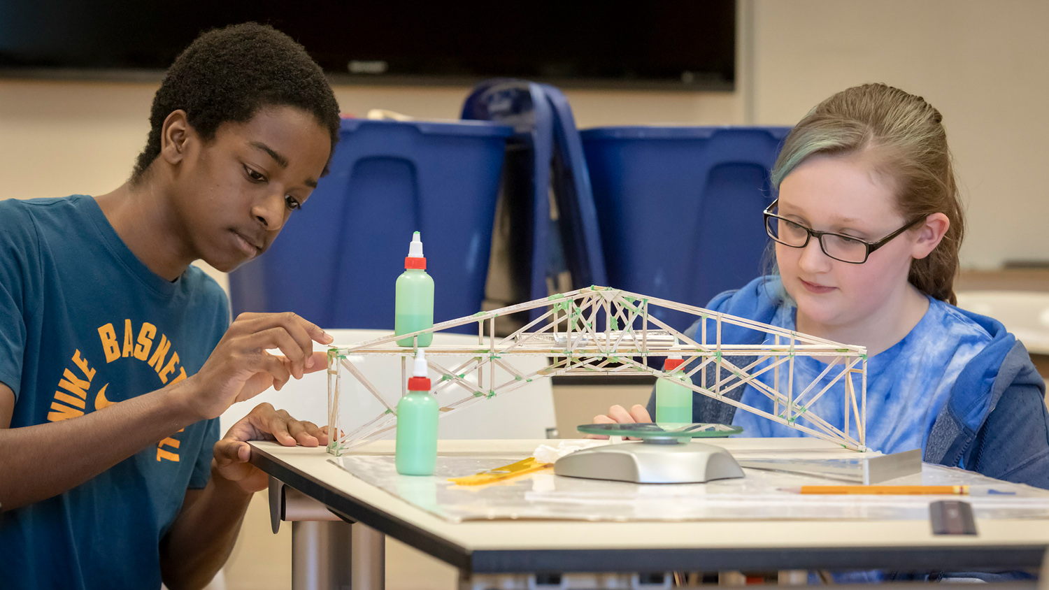 Two students working on a STEM education project