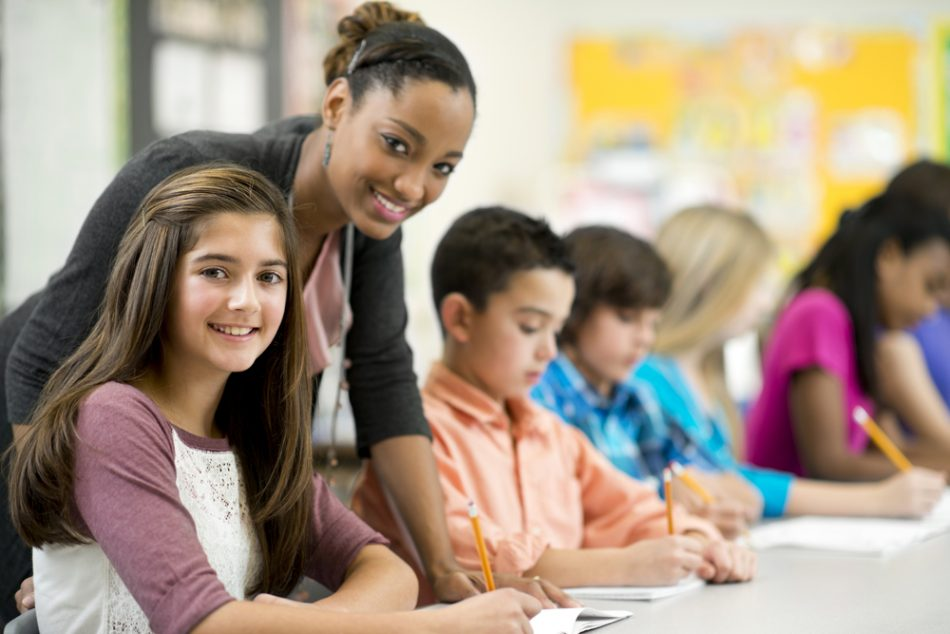 Diverse elementary students in the classroom.