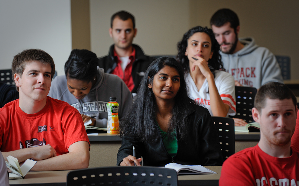 Students in a Biomedical Engineering class of Dr. Andrew DiMeo in Engineering Building III on Centennial Campus. Photo by Marc Hall