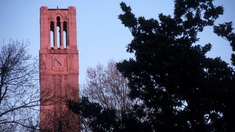 NC State Belltower at dusk.