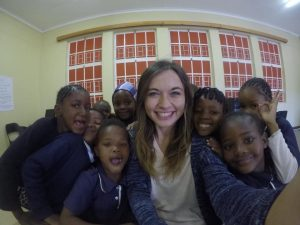 Weidner with her students in Rehoboth, Namibia.