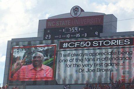 Photo of Joe Brown on the Jumbotron at Carter-Finley Stadium