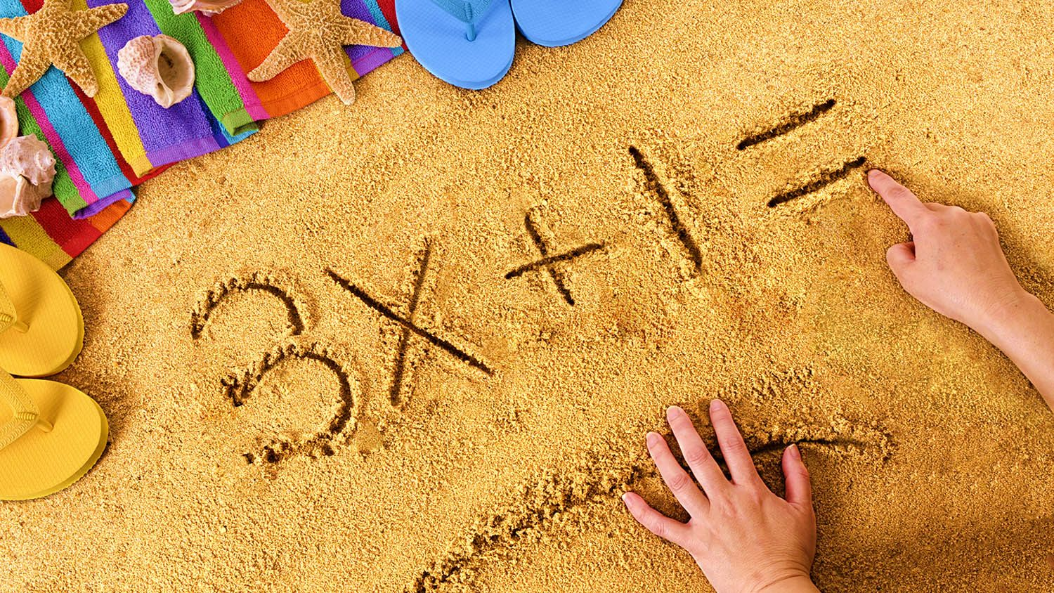 Photo of math in the sand