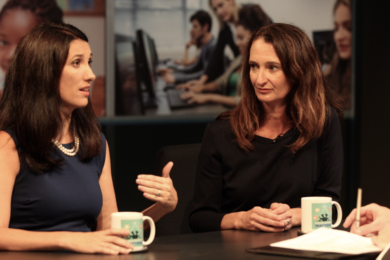 A photo of Adria Dunbar and Meghan Manfra on Education Matters