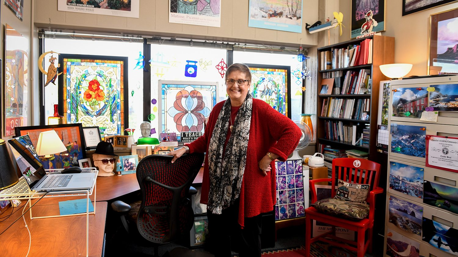 A photo of Candy Beal in her office in Poe Hall
