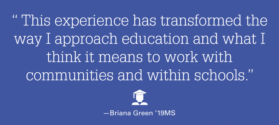"""A quote graphic that states: """"This experience has transformed the way I approach education and what I think it means to work with communities and within schools."""""""