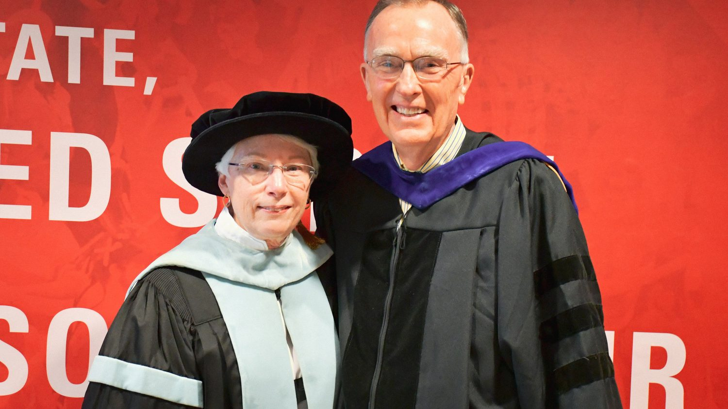 Ed Gerler with Dean Mary Ann Danowitz at the May 2019 graduation