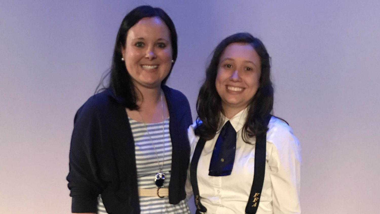A photo of Lisandra Mejia and her FFA advisor
