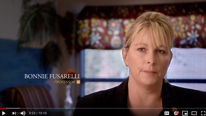 Screenshot of Video Clip Featuring Professor Bonnie Fusarelli