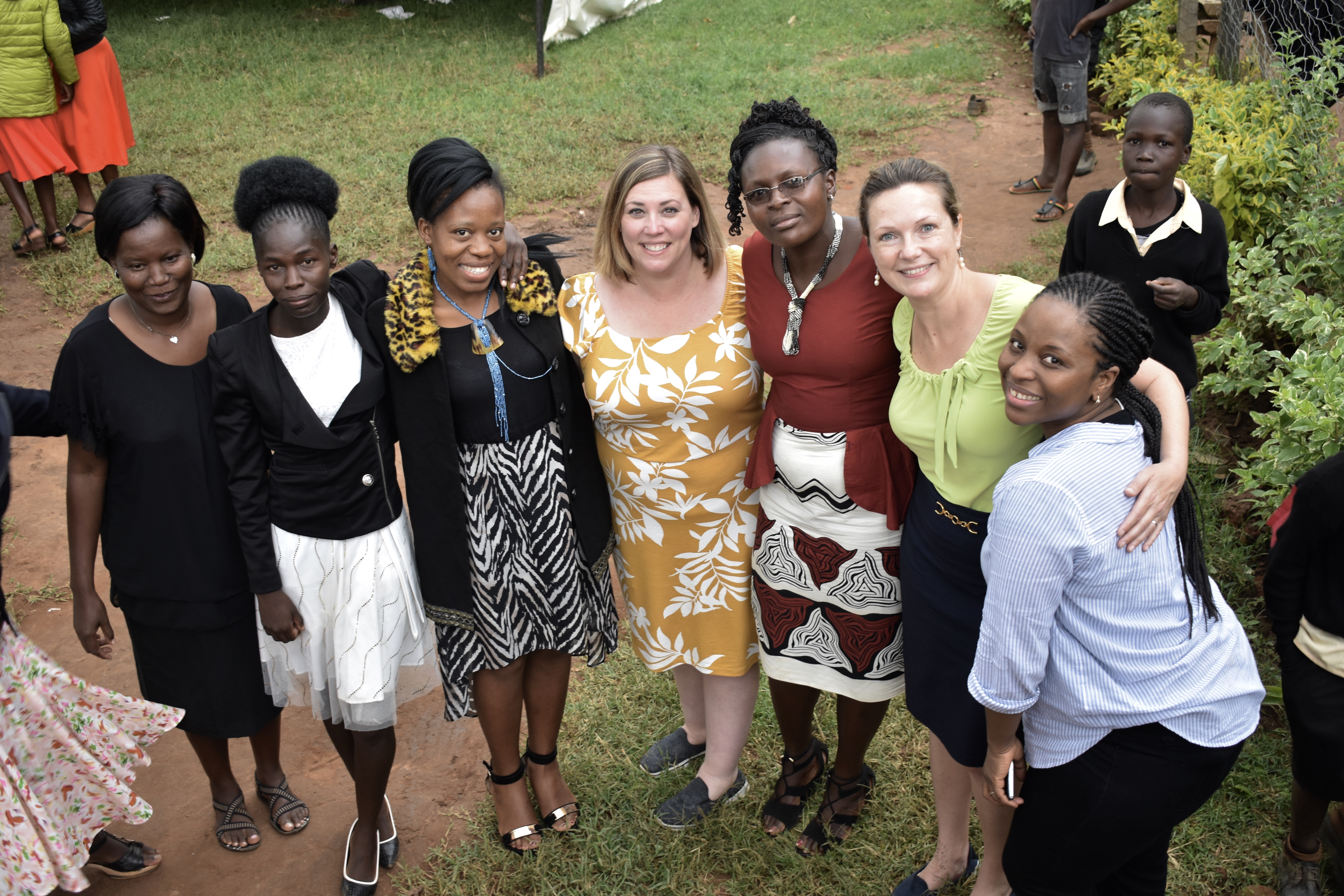 Michelle Falter, Ph.D., stands with teachers during professional development in Kenya.