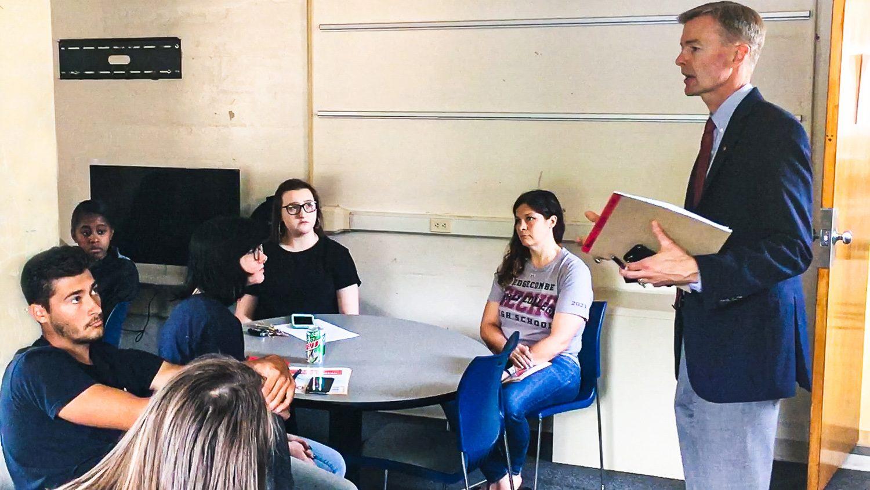 Matthew Bristow-Smith speaking to students