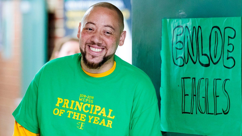Will Chavis wearing Principal of the Year t-shirt