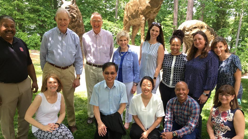 Ed Gerler, third from left on top row, with Counseling Education faculty during a retirement luncheon.