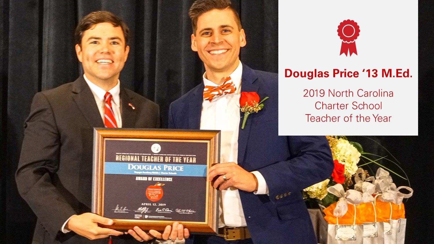 Douglas Price '13, NC Charter School Teacher of the Year, stands with State Superintendent Mark Johnson