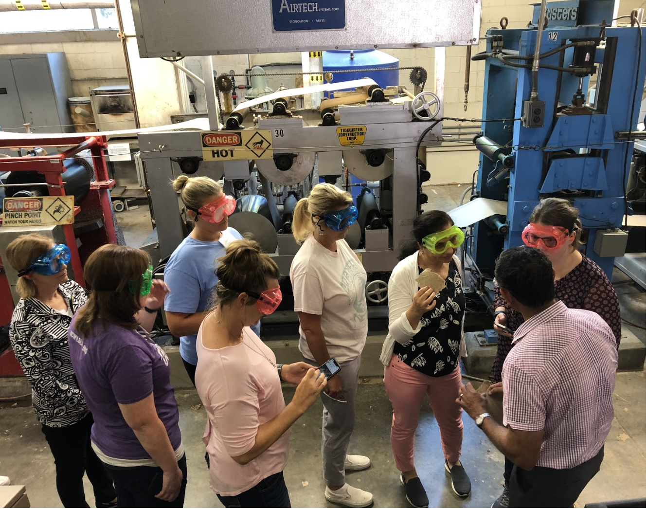 In addition to participating in labs and curriculum planning during the four-day workshop, teachers also had unique opportunities to tour the demonstration paper machine