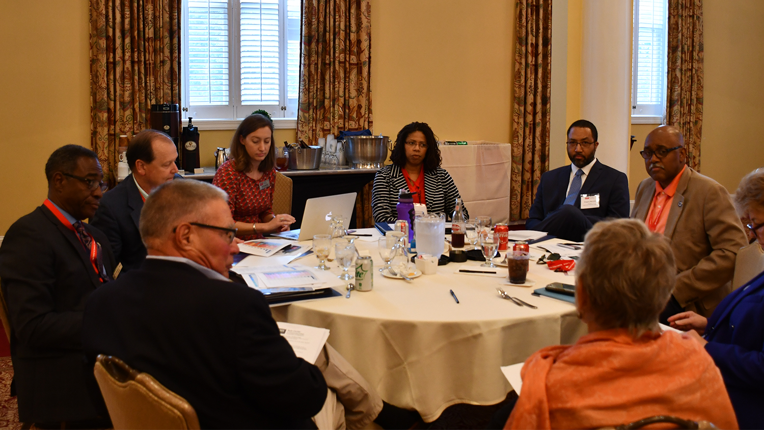 A group of community college presidents discuss data at the Belk Center Presidents' Academy Symposium on Sept. 9, 2019