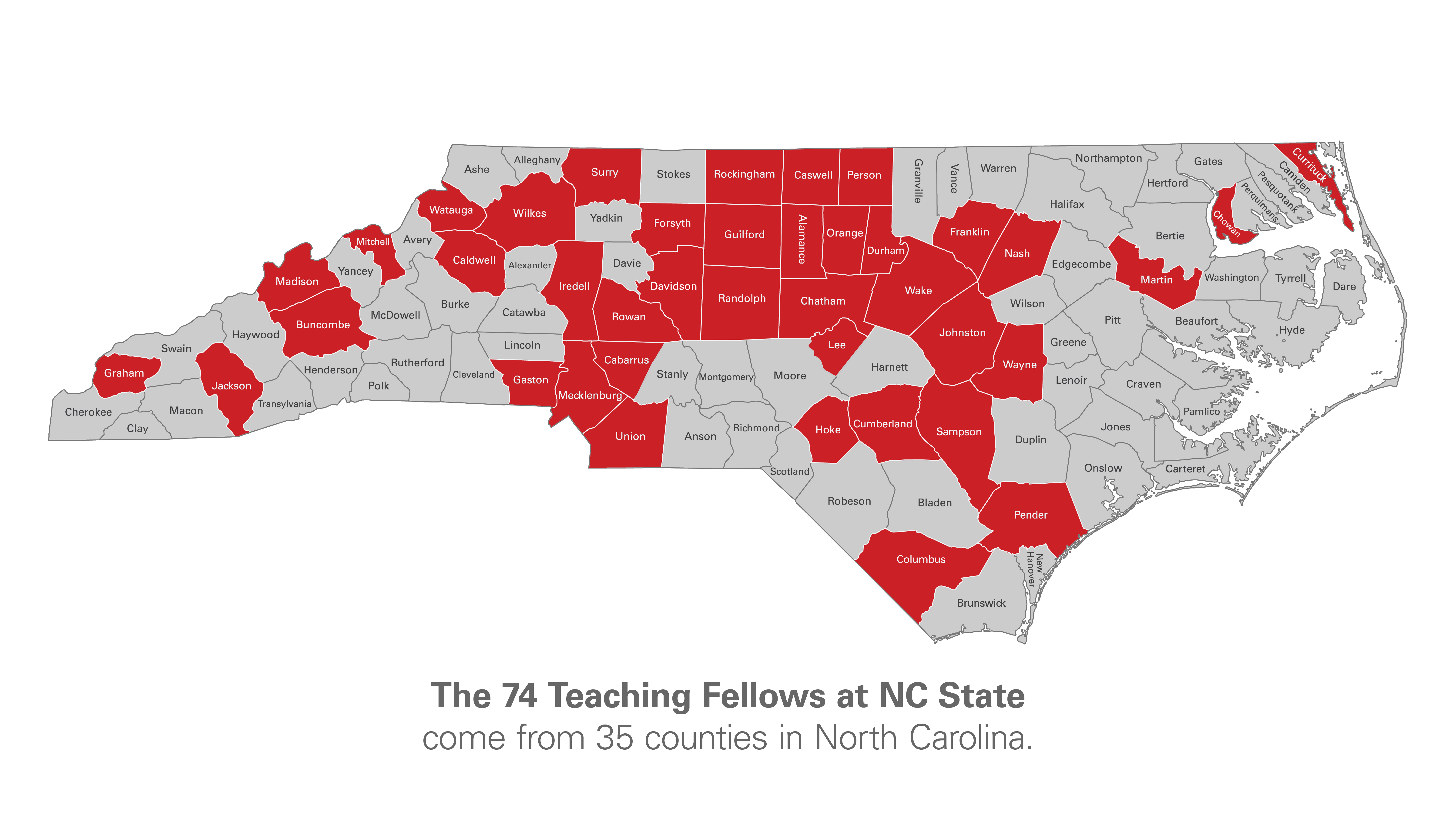 The 74 Teaching Fellows at NC State come from 35 counties in North Carolina.