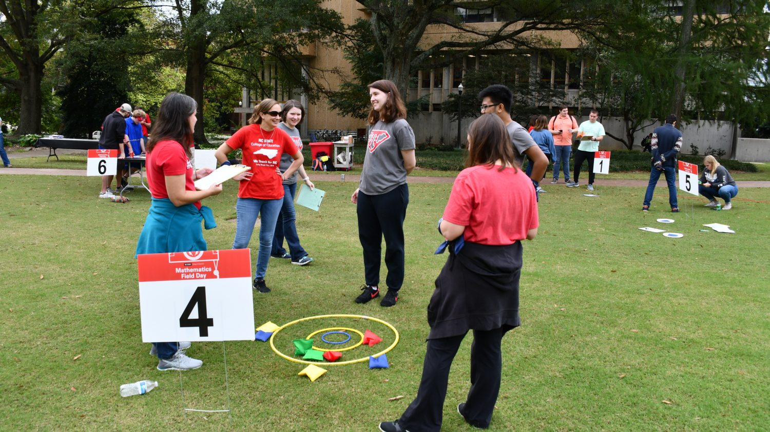 Students participated in a bean bag toss activity during Mathematics Field Day