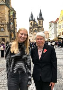 Dean Mary Ann Danowitz with student Ashton Crump. Photo by Anaël Symůnková.