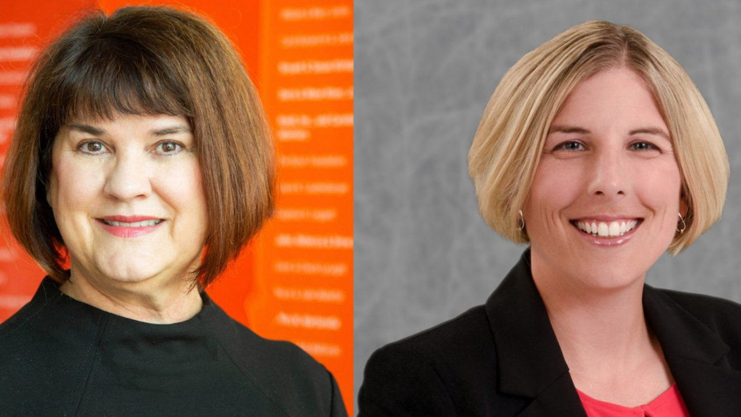 A side-by-side photo of Hiller Spires, Ph.D., and Erin Krupa, Ph.D.