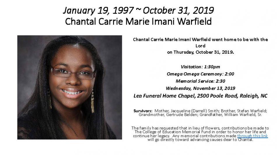 Chantal Warfield Online Memorial