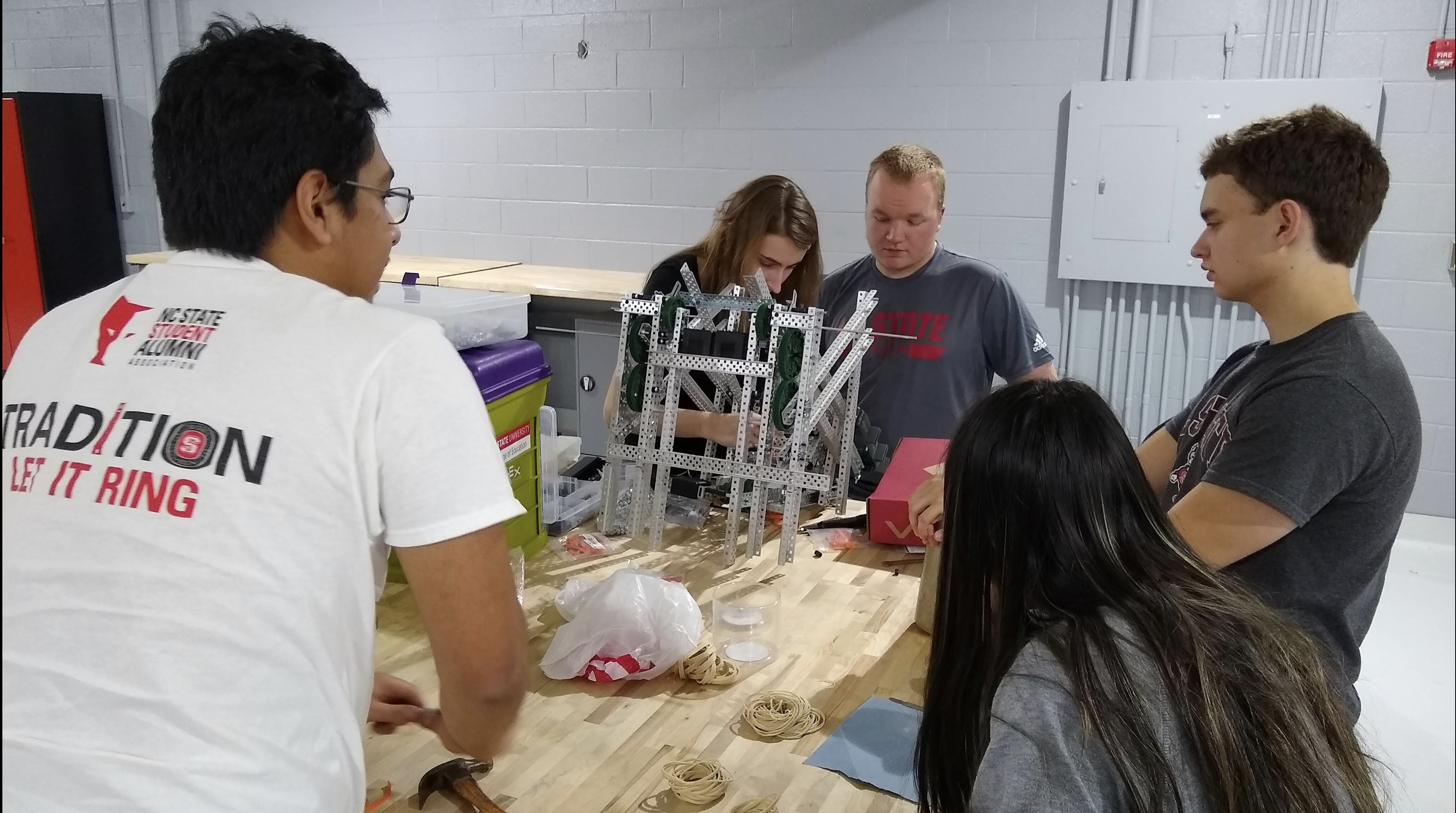 The NC State VEX-U Robotics club builds a robot