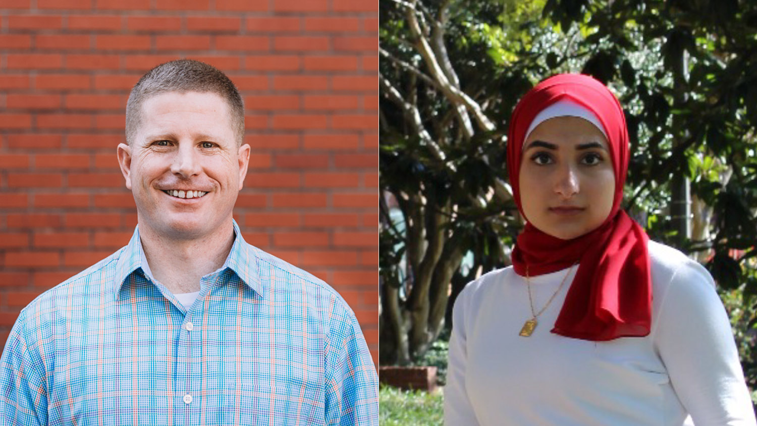 Graduation student speakers Greg Cheney and Walaa Sarsour