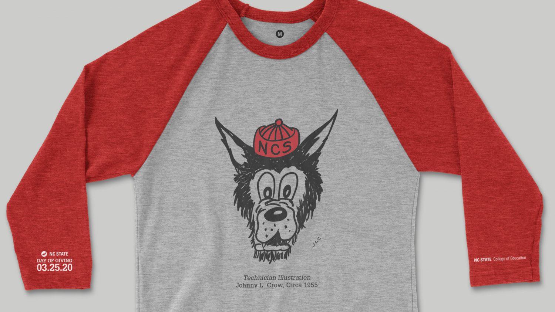 Baseball T-shirt with Zeke Wolf Head Illustration