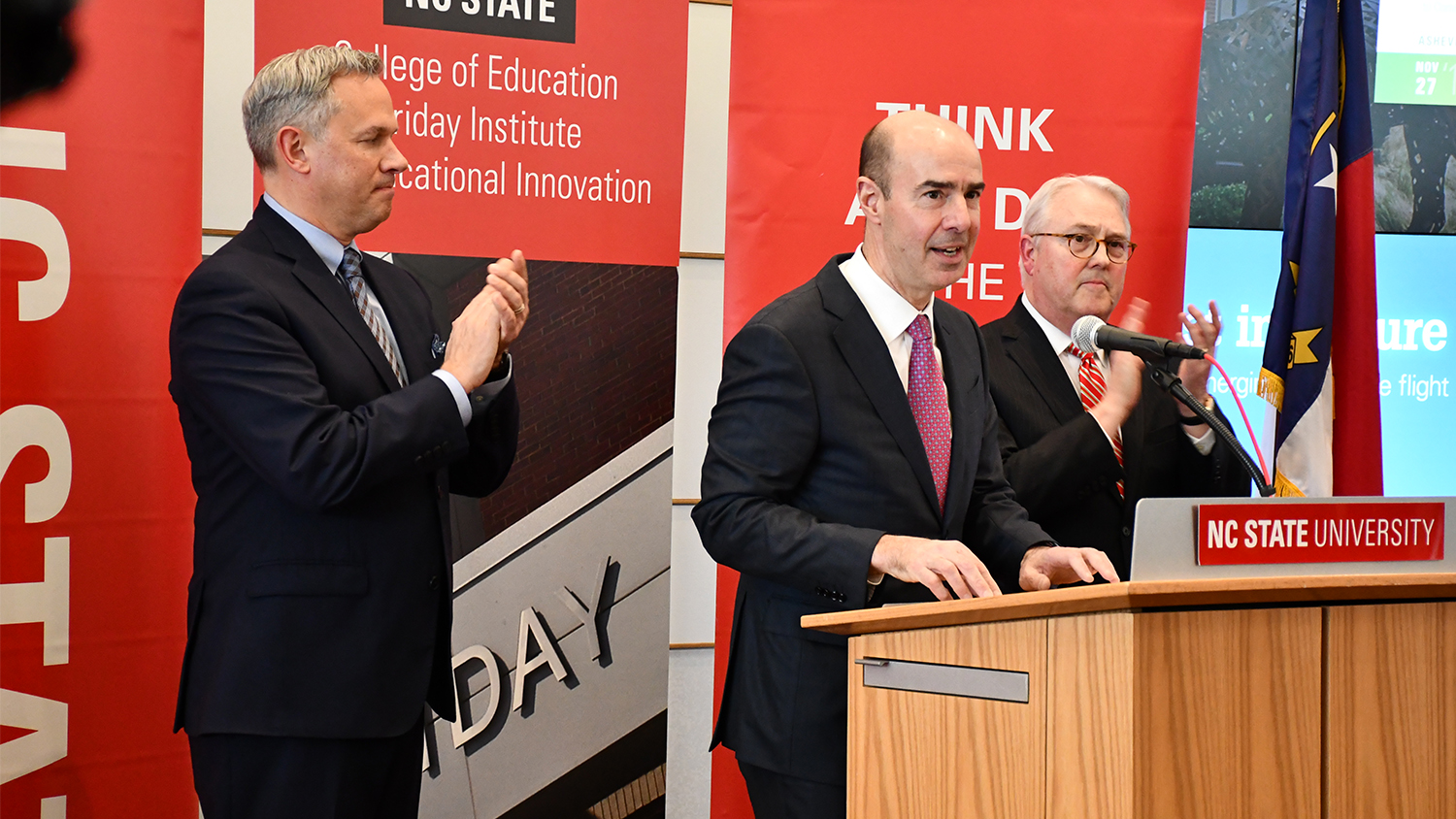 N.C. Lt Gov. Dan Forest, Labor Secretary Eugene Scalia, and NC State Chancellor Randy Woodson.