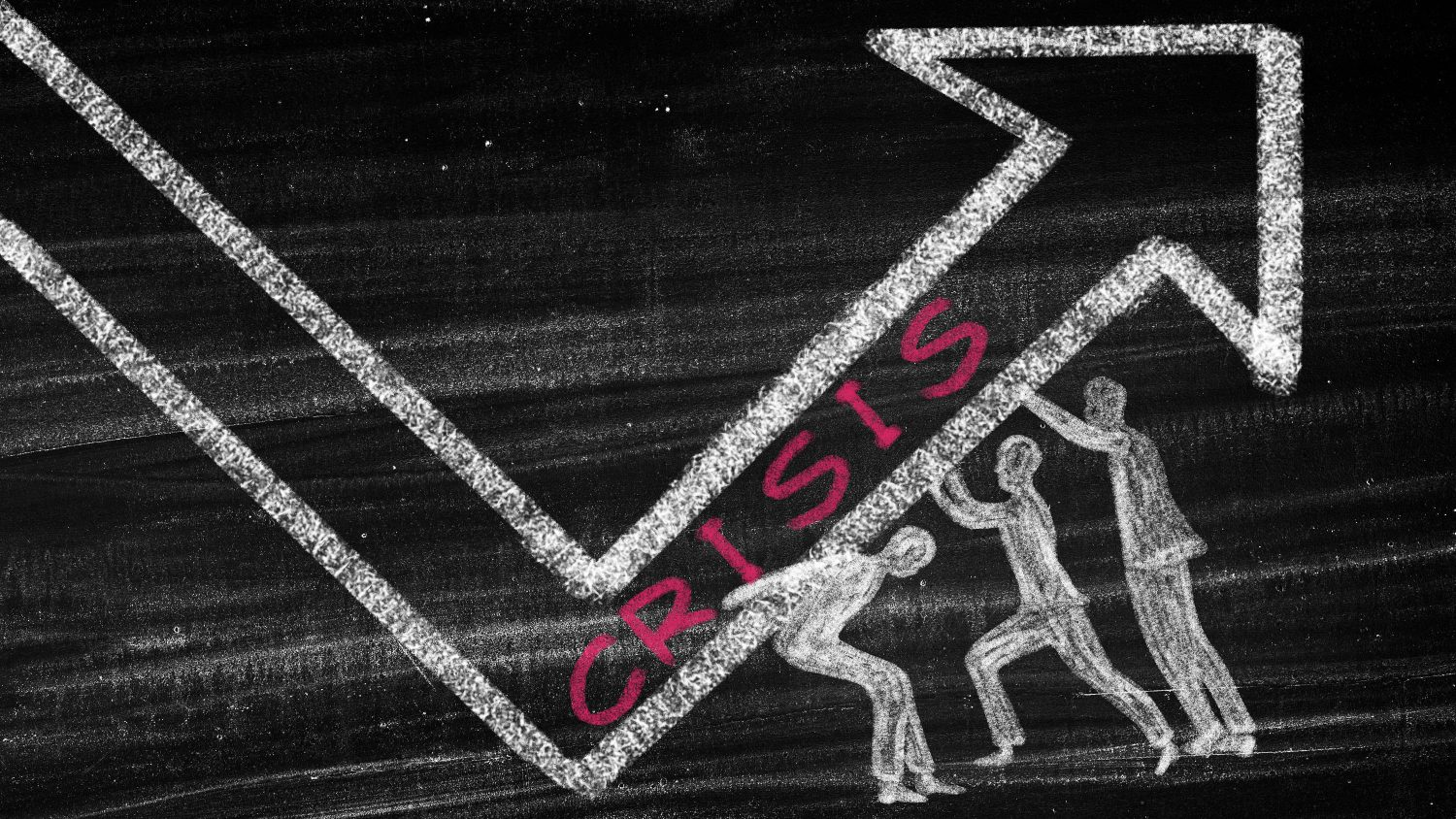 A chalk drawing of an arrow going up with the word crisis in pink with chalk people trying to hold the crisis arrow up.