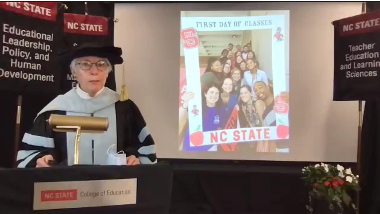 Dean Mary Ann Danowitz at the May 2021 Virtual Graduation Ceremony
